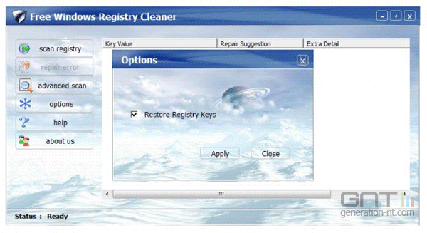 Free Windows Registry Cleaner - Version en 2012 - Crédit GNT