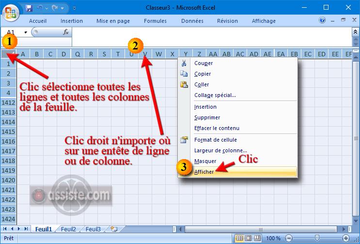Excel - Afficher des lignes ou des colonnes masquées