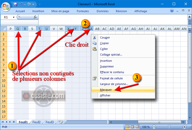 Excel - Masquer des lignes ou des colonnes