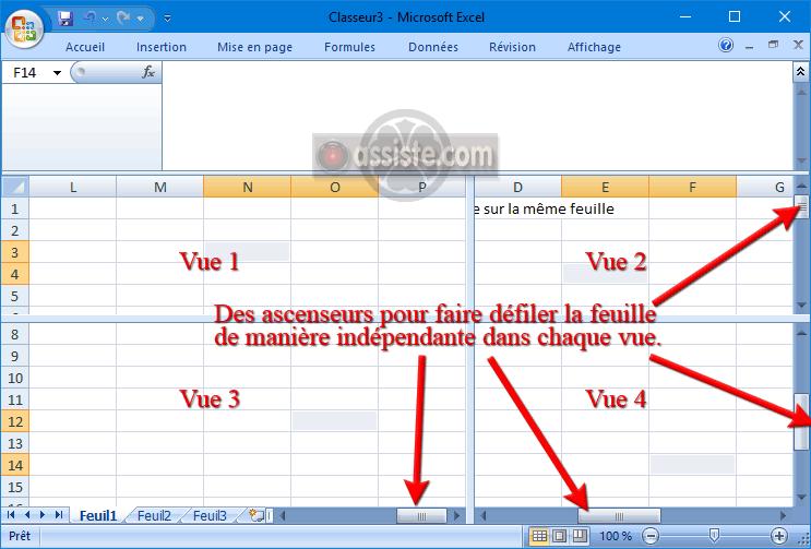 Excel - fractionner (diviser) la fenêtre Excel