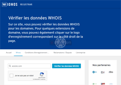 1&1 IONOS (ionos.fr) Whois - Domain name search - recherches Whois