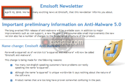 A2 (A² - A Squared) devient Emsisoft Anti-Malware le 12 avril 2010