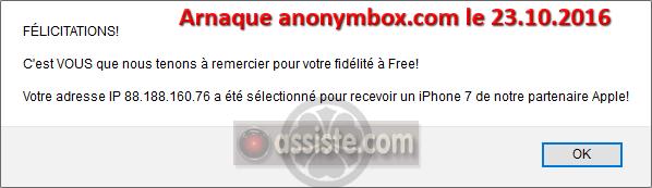 anonymbox.com - arnaques par un pseudo site d'adresses email jetables