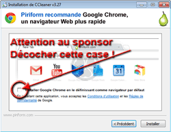 Installation de CCleaner - Attention