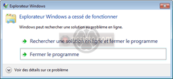 Explorateur Windows a cessé de fonctionner