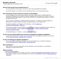 Google Safe Browsing (google.com) Web-réputation d'un site Web<br>Explication (drive-by download).<br>