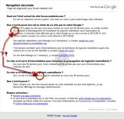 Google Safe Browsing (google.com) Web-réputation d'un site Web<br>Les malveillances proviennent de sites tiers.<br>