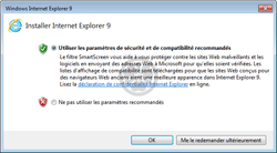 Installation d'Internet Explorer avec activation de SmartScreen