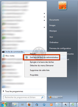 Demande d'ouverture d'une « Invite de commandes » avec élévation de privilèges sous Windows Vista, Windows 7, Windows 8
