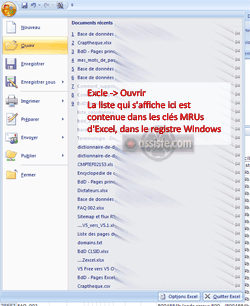 MRU dans une application (tableur Microsoft Excel)