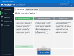 Malwarebytes - Analyses - Choisir un mode d'analyse