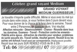 Flyer (prospectus - tract) Marabout, envoûteur, sorcier, voyant, guérisseur, mage