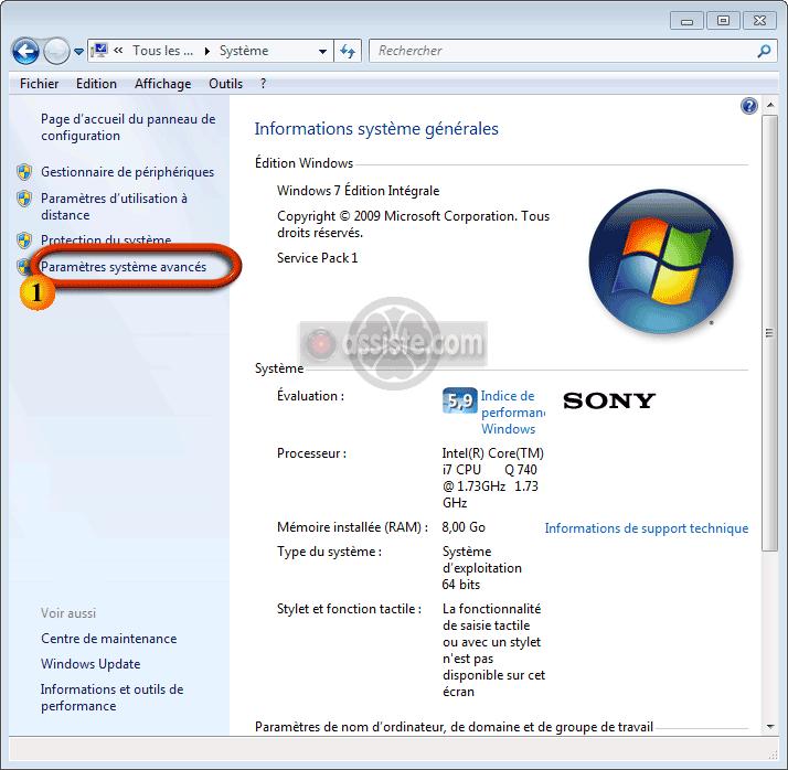Combien de mémoire pour windows 7