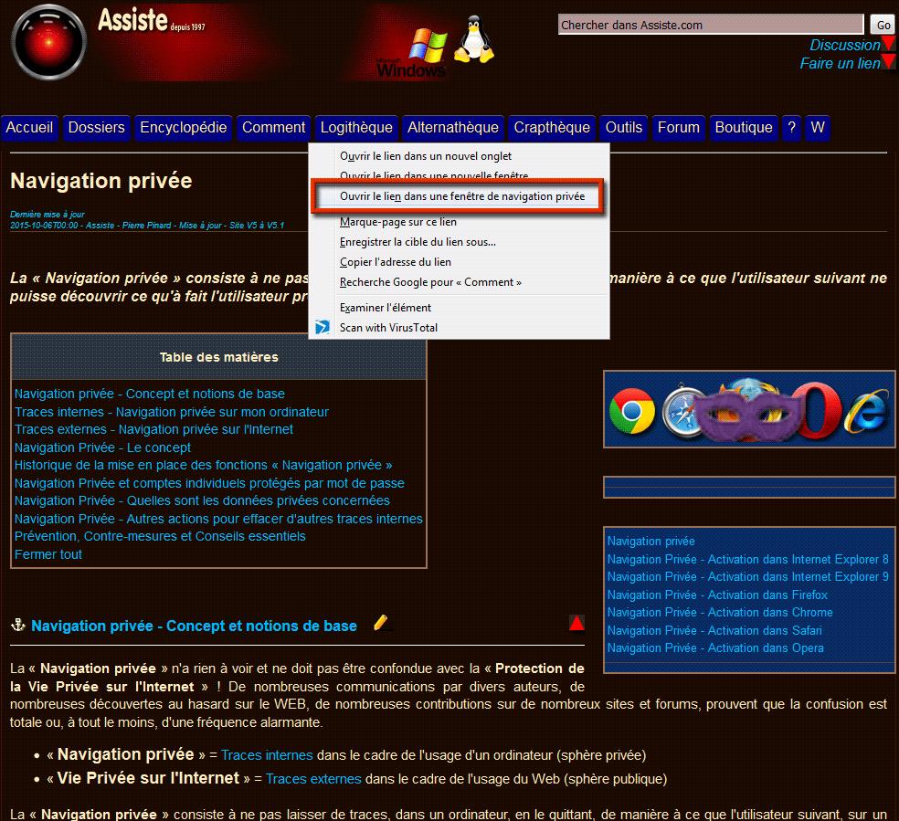 Navigation priv e activation dans firefox for Ouvrir un lien dans une nouvelle fenetre html