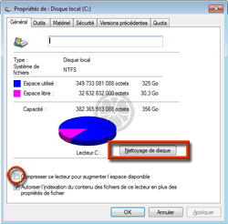 Nettoyage de disque (assistant cleanmgr.exe de Windows)