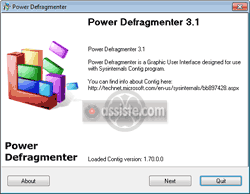 Contig - SysInternals - Power Defragmenter GUI (Interface graphique)
