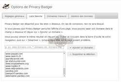 Privacy Badger - Liste blanche