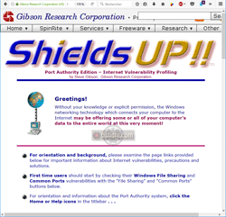 ShieldsUP! (de Gibson Research Corporation) - Scan de ports en ligne