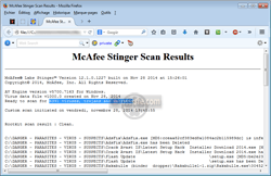 Stinger (« McAfee Stinger » - « McAfee AVERT Stinger ») - Journal d'une analyse