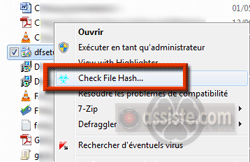 VT Hash Check dans le menu contextuel de l'Explorateur Windows