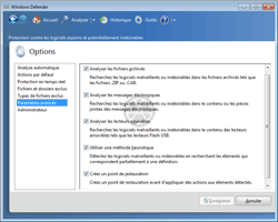 Windows Defender - Inclusions / exclusions d'autres objets à analyser et modes d'actions