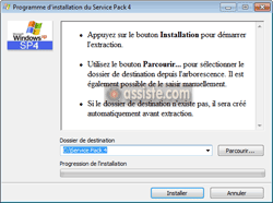 Lancer la décompression et l'installation de Windows XP SP4